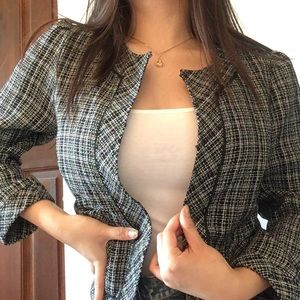 Lux Tweed Style Gray & Black Lined Blazer
